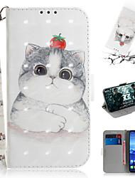 Недорогие -Кейс для Назначение Huawei Huawei Nova 3i / Huawei Nova 4 / Huawei nova 4e Кошелек / Бумажник для карт / со стендом Чехол Животное / 3D в мультяшном стиле Кожа PU