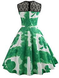cheap -Women's Basic Chinoiserie A Line Swing Dress - Color Block Print Green L XL XXL