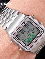 Недорогие -Для пары электронные часы Цифровой Календарь Цифровой World Map Pattern Элегантный стиль - Черный Серебряный Розовое золото / Нержавеющая сталь