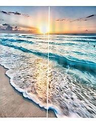 Недорогие -3d печать восходящая волна карта чистая полиэфирная ткань занавес светозащитная водонепроницаемая и защищенная от плесени занавеска для ванной студия офис звукоизоляционные и жаростойкие занавески