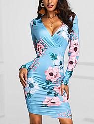 Недорогие -Жен. Классический Оболочка Платье - Цветочный принт До колена