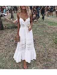 Недорогие -Жен. Для вечеринок Пляж Элегантный стиль Кружева С летящей юбкой Платье - Однотонный, Открытая спина Длиные На бретелях Макси / Сексуальные платья