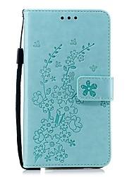 Недорогие -Кейс для Назначение Nokia Кошелек / Бумажник для карт / Защита от удара Чехол Однотонный / Цветы Кожа PU