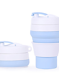 Недорогие -Бутылки для воды Складная бутылка для воды 350 ml Силиконовые PP Портативные Ультралегкий (UL) для Отдых и Туризм Путешествия 500 pcs Серый Синий Розовый