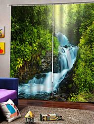 Недорогие -Роскошные оптовые пейзажи 3d уф печать окна шторы 100% полиэстер затемняющая ткань для спальни / гостиной / отеля
