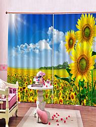 Недорогие -современный романтический подсолнух 3d печать водонепроницаемый и плесени из чистого полиэстера занавеска для ванной комнаты спальня кабинет звукоизоляция и светозащитная ткань искусства занавес