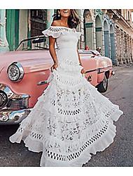 Недорогие -Жен. Классический С летящей юбкой Платье - Однотонный, Кружева Аппликация С открытыми плечами Ассиметричное