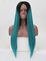 Недорогие -Парики из натуральных волос на кружевной основе Естественные прямые Стиль Средняя часть Лента спереди Парик Синий Чистый синий Искусственные волосы 26 дюймовый Жен. Женский Синий Парик Длинные