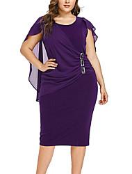 Недорогие -Жен. Изысканный Элегантный стиль Оболочка Платье - Однотонный, Плиссировка Пэчворк До колена