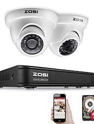 Недорогие -Zosi 4-канальный полный 1080p HD-TV рекордер чехол DVR Kit системы видеонаблюдения с 2-мегапиксельным ик-фильтром наружного ночного видения 2шт купольная видеокамера