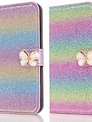 Недорогие -Кейс для Назначение SSamsung Galaxy A5(2018) / A6 (2018) / A6+ (2018) Кошелек / Бумажник для карт / Защита от удара Чехол Бабочка / Сияние и блеск Твердый Кожа PU