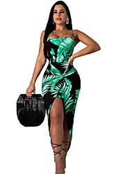 cheap -Women's Sheath Dress - Floral Split Green M L XL