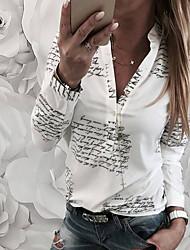 Недорогие -Жен. Рубашка Хлопок, V-образный вырез Свободный силуэт Буквы Белый