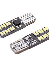 Недорогие -10 шт. / Лот T10 светодиодный Canbus T10 24led 3014SMD светодиодный нет ошибки OBC 194 168 W5W T10 светодиодный интерьер инструмента лампа лампа супер белый