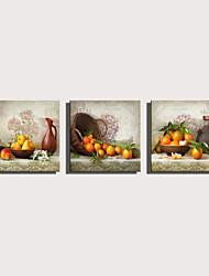 Недорогие -С картинкой Роликовые холсты Отпечатки на холсте - Натюрморт Продукты питания Modern 3 панели Репродукции