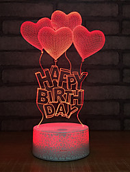 Недорогие -1шт Heart Shape 3D ночной свет USB Креатив / День рождения / С портом USB 5 V