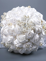 Недорогие -Свадебные цветы Букеты Свадьба / Свадебные прием Шёлковая ткань рипсового переплетения / стекло / Бусины 11-20 cm