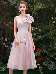 저렴한 -A-라인 원 숄더 종아리 길이 튤 신부 들러리 드레스 와 리본 으로 LAN TING Express