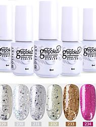 economico -smalto per unghie 6 pezzi colore 229-234 xyp soak-off uv / led smalto gel per unghie colore solido lacca per unghie set
