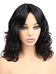 Недорогие -человеческие волосы Remy Полностью ленточные Лента спереди Парик Средняя часть стиль Бразильские волосы Волнистый Черный Парик 130% 150% 180% Плотность волос
