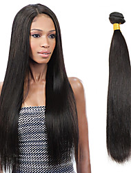 Недорогие -1 комплект Индийские волосы Прямой Не подвергавшиеся окрашиванию Человека ткет Волосы 8-26 дюймовый Черный Ткет человеческих волос Расширения человеческих волос / 10A / Прямой силуэт