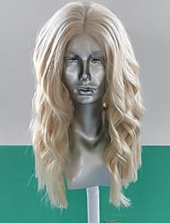 Недорогие -Синтетические кружевные передние парики Волнистый Естественные волны Стиль Средняя часть Лента спереди Парик Блондинка Блондинка Искусственные волосы 8-12 дюймовый Жен. Мягкость Эластичный Женский