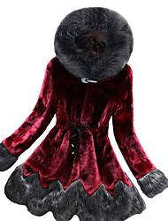 Недорогие -Жен. Повседневные Обычная Искусственное меховое пальто, Однотонный Капюшон Длинный рукав Искусственный мех Винный / Зеленый / Серый