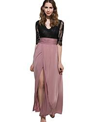 Недорогие -Жен. Классический Оболочка Платье - Однотонный Контрастных цветов Макси