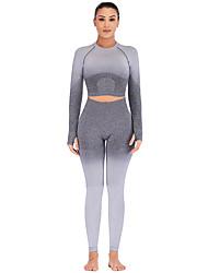 billige -Dame Træningsdragt Sport Bomuld Elastin Tøjsæt Løb Fitness Gym træning Sportstøj Uelastisk