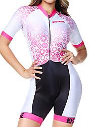 Недорогие -BOESTALK Жен. С короткими рукавами Костюм для триатлона Розовый+белый В полоску Шестерня Велоспорт Дышащий Влагоотводящие Быстровысыхающий Анатомический дизайн Задний карман Виды спорта Спандекс