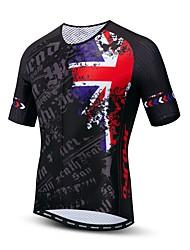hesapli -JPOJPO UK Ulusal Bayrak Erkek Kısa Kollu Bisiklet Forması - Siyah Bisiklet Forma Üstler Nefes Alabilir Nem Emici Hızlı Kuruma Spor Dalları Polyester Elastane Terylene Dağ Bisikletçiliği Yol / Likra