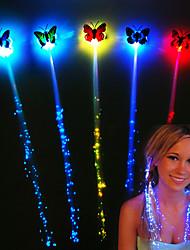 Недорогие -1 компл. 7 шт. Светодиодные яркие волосы косы флэш-волокна шпилька клип светящаяся бабочка повязка на голову люминесцентные новогодняя вечеринка рождественский подарок батареи с питанием от хэллоуин