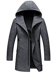 Недорогие -Муж. Повседневные Размер ЕС / США Длинная Пальто, Однотонный Капюшон Длинный рукав Полиэстер Черный / Серый