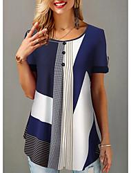 abordables -Tee-shirt Femme, Bloc de Couleur Bleu