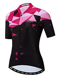 hesapli -JPOJPO Kadın's Kısa Kollu Bisiklet Forması Fuşya Yenilik Bisiklet Forma Üstler Nefes Alabilir Hızlı Kuruma Spor Dalları Polyester Elastane Terylene Dağ Bisikletçiliği Yol Bisikletçiliği Giyim / Likra