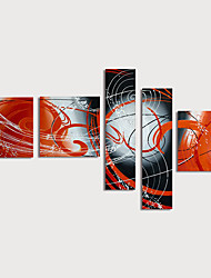 Недорогие -Hang-роспись маслом Ручная роспись - Абстракция Modern Включите внутренний каркас / 5 панелей