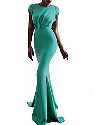 Недорогие -Жен. Изысканный Элегантный стиль Облегающий силуэт Оболочка Платье - Однотонный, Открытая спина Бант Плиссировка Макси Черный