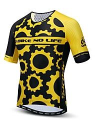 hesapli -JPOJPO Dişli Erkek Kısa Kollu Bisiklet Forması - Sarı Bisiklet Forma Üstler Nefes Alabilir Nem Emici Hızlı Kuruma Spor Dalları Polyester Elastane Terylene Dağ Bisikletçiliği Yol Bisikletçiliği Giyim