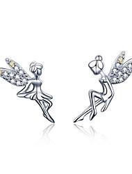 Недорогие -романтический подлинный стерлингового серебра 925 пробы милая фея элевс изысканные серьги-гвоздики для женщин роскошные ювелирные изделия bse17046