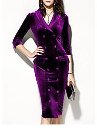 Недорогие -Жен. Классический Оболочка Платье - Однотонный До колена