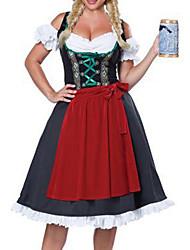 billige -Halloween Karneval Oktoberfest dirndl Dame bayerske Rød Kjole Forklæde