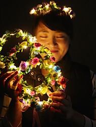Недорогие -1 шт. Украшения свет прекрасный прекрасный гирлянда для рождественской вечеринки красочные хэллоуин венок цветок повязка на голову для женщин девушки привели волосы корона волос гирлянды