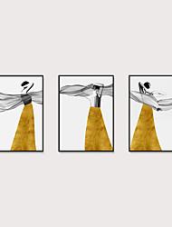 Недорогие -Отпечаток в раме Набор в раме - Абстракция Люди Полистирен Иллюстрации Предметы искусства