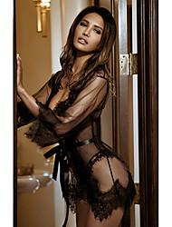 Недорогие -Жен. Кружева / Сетка Сексуальные платья Халат Ночное белье Однотонный Черный Белый Красный S M L