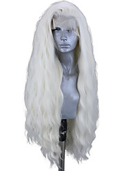 Недорогие -Синтетические кружевные передние парики Волнистый Стиль Боковая часть Лента спереди Парик Блондинка Платиновый блондин Искусственные волосы 18-26 дюймовый Жен. Регулируется Жаропрочная Для вечеринок