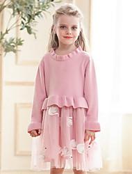 povoljno -Dijete koje je tek prohodalo Djevojčice Aktivan Životinja Print Dugih rukava Do koljena Haljina Blushing Pink