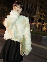 hesapli -Kadın's Günlük / Çalışma / Kumsal Kış Kısa Faux Kürk, Zıt Renkli Yakasız Uzun Kollu Suni Kürk Beyaz S / M / L
