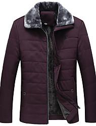 billige -Herre Daglig Normal Frakke, Ensfarvet Aftæpning Langærmet Polyester Sort / Vin / Navyblå US34 / UK34 / EU42 / US36 / UK36 / EU44 / US38 / UK38 / EU46