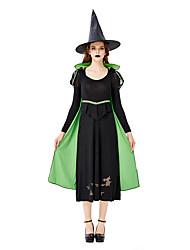 Недорогие -ведьма Косплэй Kостюмы Маскарад Взрослые Жен. Косплей Хэллоуин Хэллоуин Фестиваль / праздник Шелковая ткань Оксфорд Зеленый Жен. Карнавальные костюмы