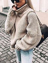 Недорогие -Жен. Однотонный Длинный рукав Свободный силуэт Пуловер, Хомут Осень / Зима Черный / Белый / Лиловый S / M / L